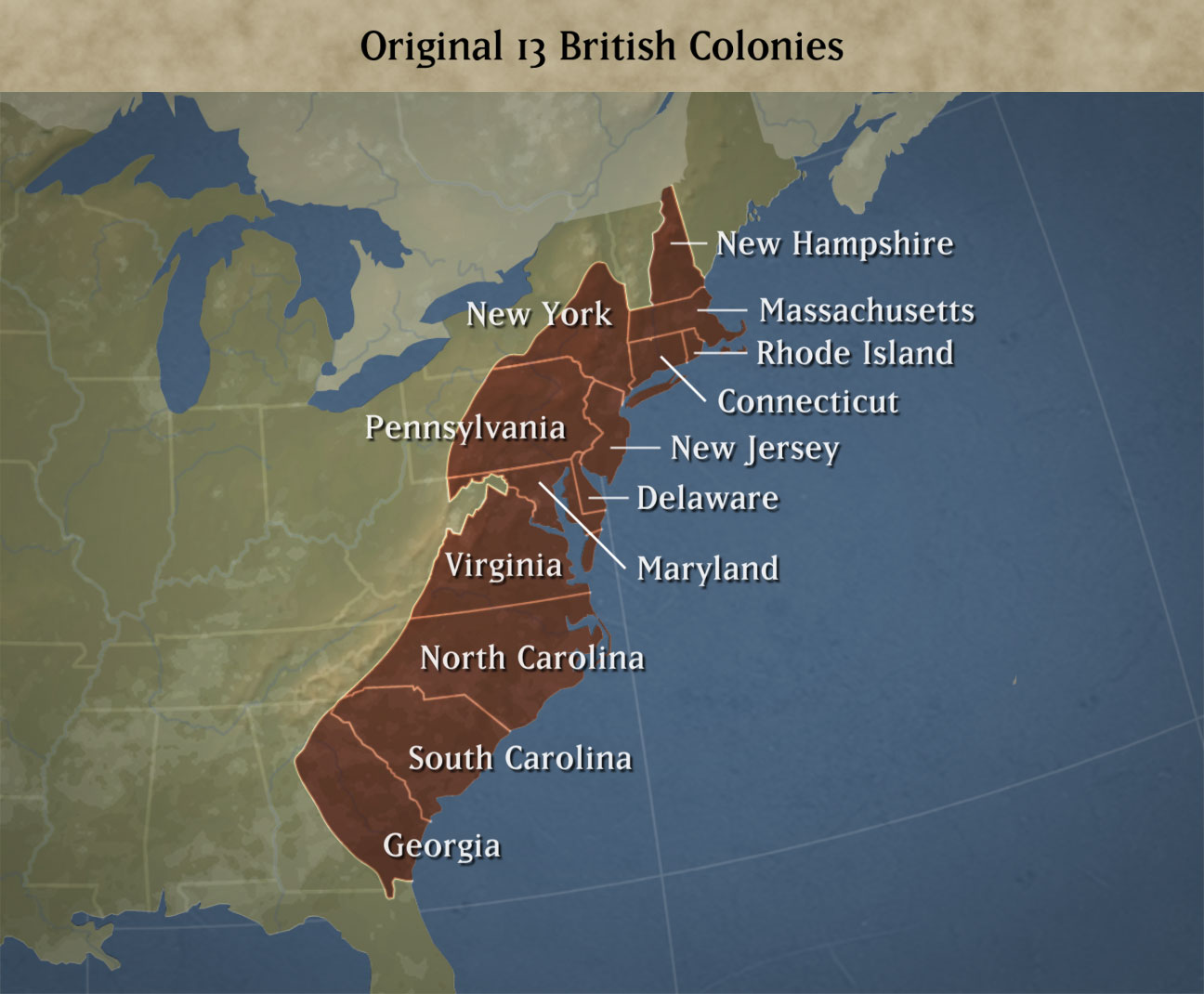 thirteen colonies The thirteen colonies were british settlements along the eastern seaboard of the  north american continent.