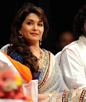 Madhuri, Dixit, In, White, Designer, Saree