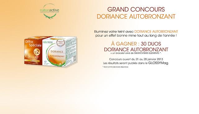 30 lots de 2 boîtes de gélules Doriance Autobronzant + 1 bracelet Swarovski