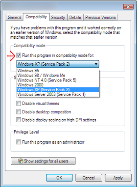 Compatibility settings for  windows 7