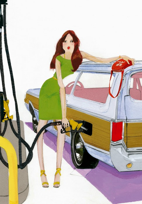 illustration by Robert Wagt of a woman pumping gas for her car