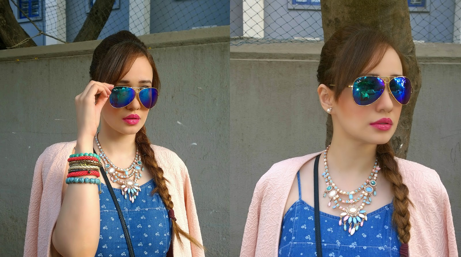 Ray-Ban blue mirrored sunglasses, pastel necklace, side briad