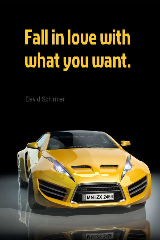 visual quote - image quotation for LAW of ATTRACTION – Fall in love with what you want. – David Schirmer