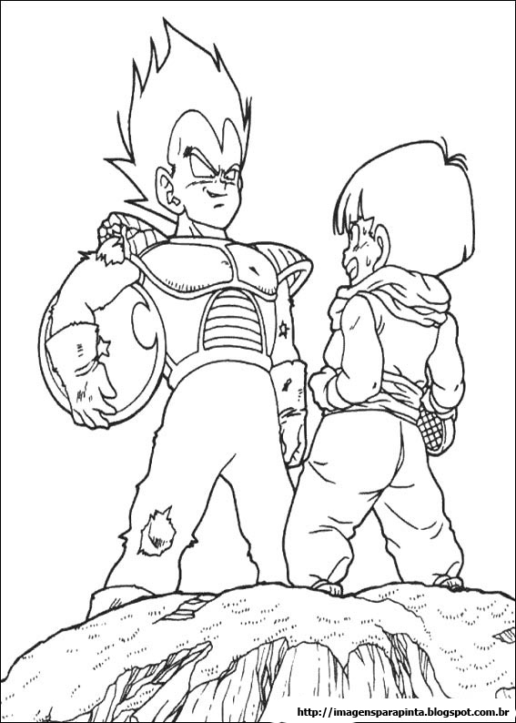 a desenhar dragon ball z vegeta e trunks colorir