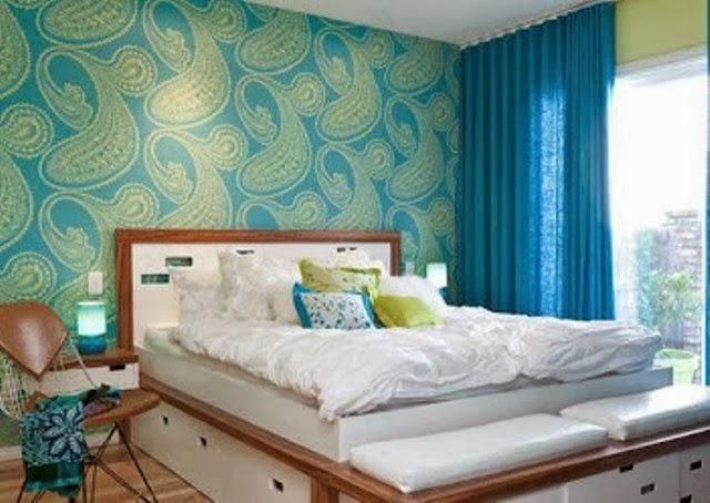desain wallpaper dinding cantik untuk kamar tidur contoh