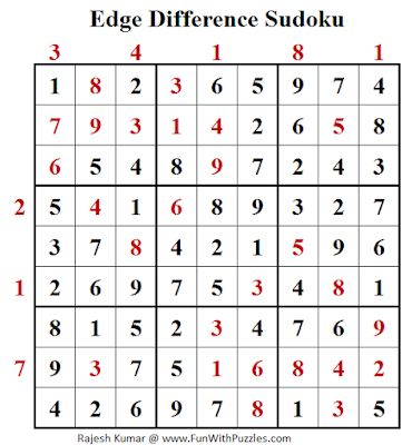 Answer of Edge Difference Sudoku (Fun With Sudoku #123)