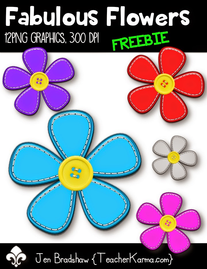 Fabulous Flowers graphics for your teaching materials.  teacherkarma.com