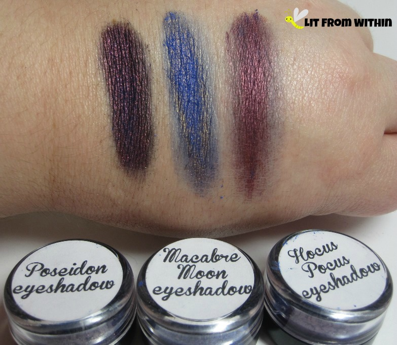 Impulse Cosmetics eyeshadows: Poseidon, Macabre Moon, and Hocus Pocus.
