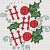 ho ho ho christmas cross stitch chart with holly and snow