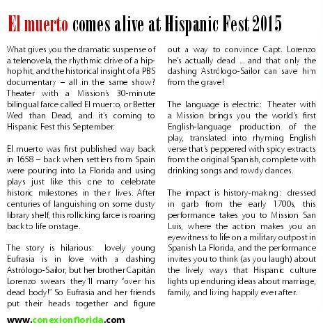 El Muerto TWAM article in Conexion  for HispanicFest2015