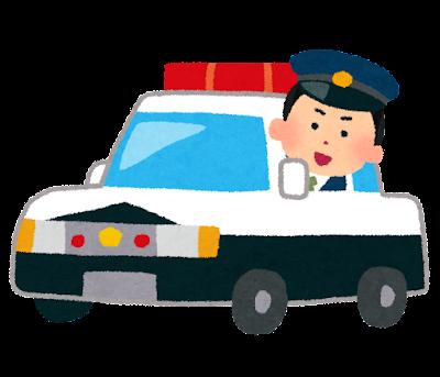 パトカーに乗る警察官のイラスト