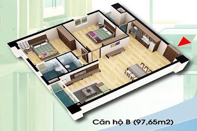 Thiết Kế Căn Hộ B Diện Tích 97.65 m2 - Chung Cư D2CT2 Linh Đàm
