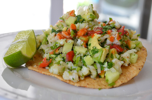 "Tostada-style: Serve the ceviche over the ""El Paraiso"" tostada with..."