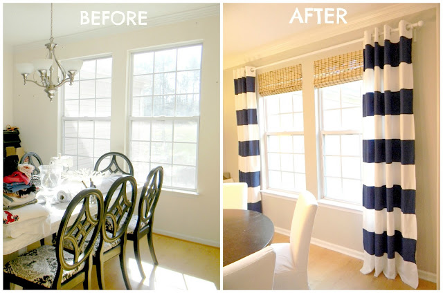 Seaside Interiors: DIY Navy Painted Curtains