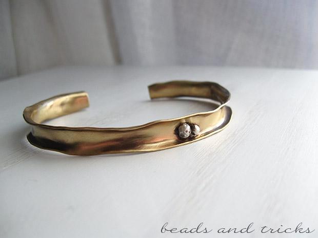 Bracciale in ottone forgiato e argento