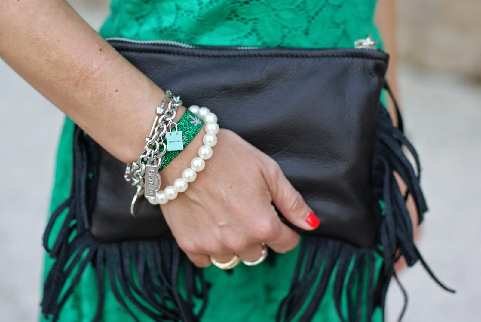 fringed bag, tiffany charms bracelet, Fashion and Cookies, fashion blogger