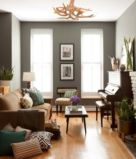 Living Room Gray Walls Brown Floors