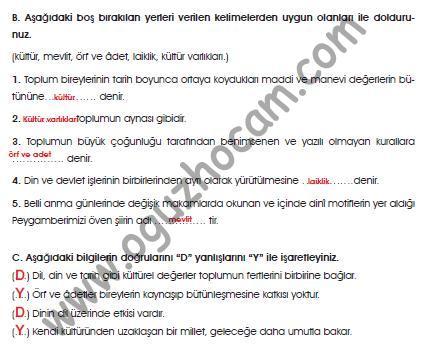 7sınıf Din Kültürü Ve Ahlak Bilgisi Kitabı Cevapları Sayfa 148 149