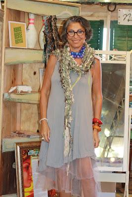 Nancy Diamond modeling her shawl