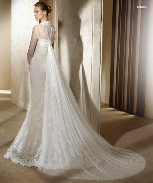 Vestidos de novia sin cola y velo largo