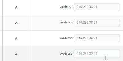 pengisian dns pada bagian A (address)