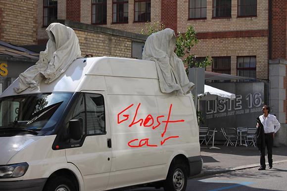 Ghost Art Car Driving through Town - Art Car Central