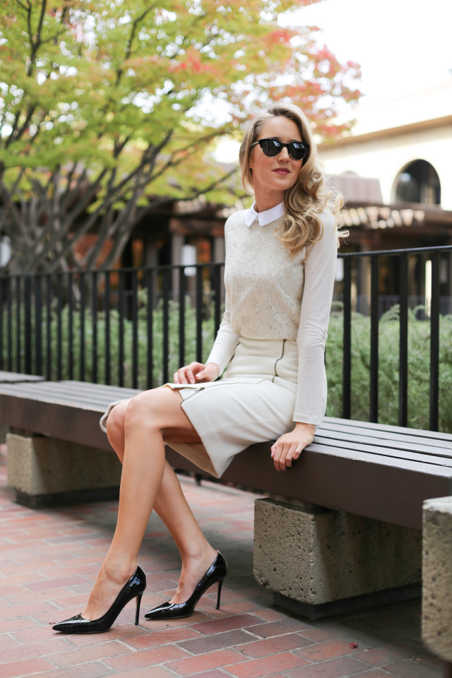 White wool skirt outfit – Modern skirts blog for you