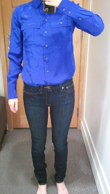 J. Crew Blythe Blouse in Silk in Byzantine Blue and Midrise Toothpick Jean in Carbon