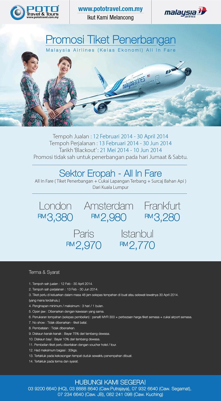 Promosi Tiket Penerbangan All In Fare Kelas Ekonomi Malaysia Airlines!