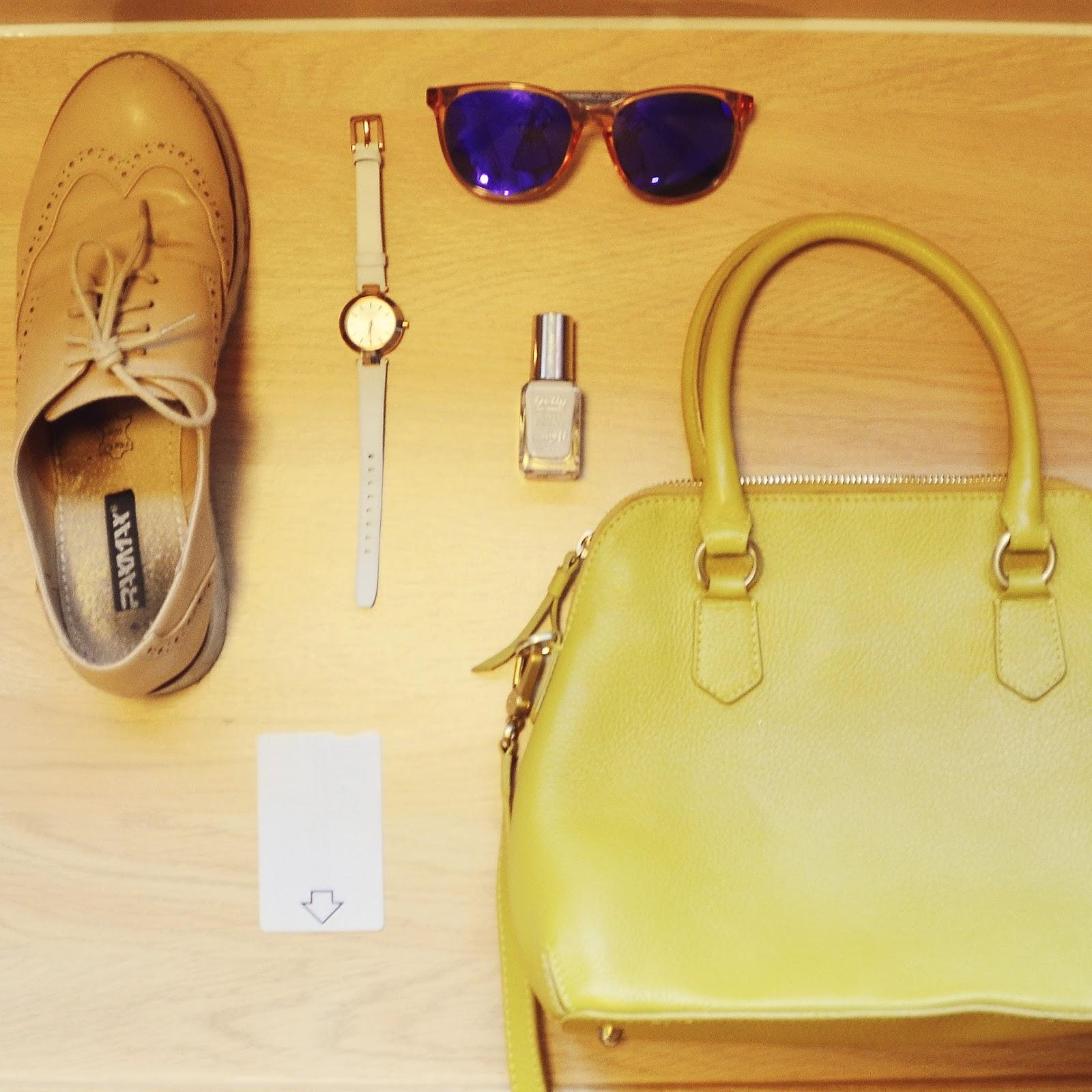 flatlay, carrera sunglasses, style edit brogue, boden yellow bag, travelodge room key card, dkny watch