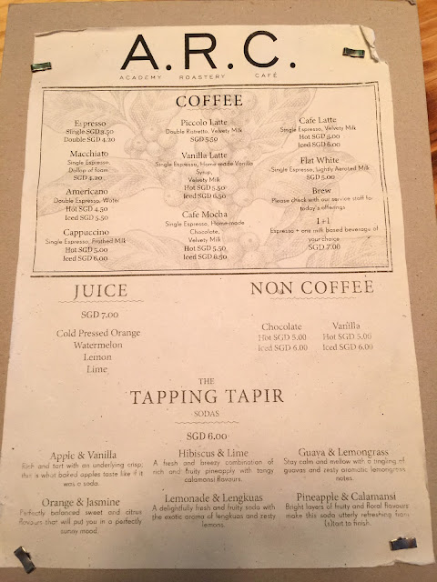 Singapore Cafe A.R.C Coffee - Menu