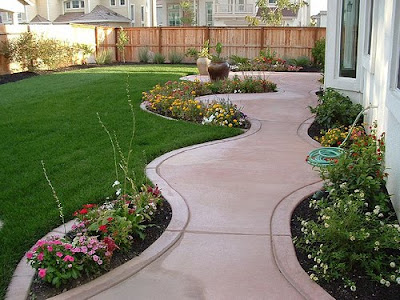 Concrete Walkway Small Backyard Landscaping Design