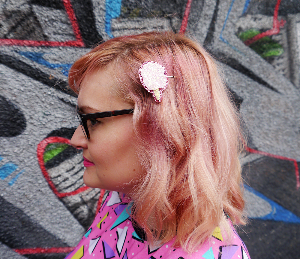 Dreamland Duplex print dress, Saved by the Bell style, pom pom earrings, Alternate Normality candyfloss hairclip, River Island leather jacket, cotton candy hair, candy floss hair, sparkly hairclip, street style with graffiti