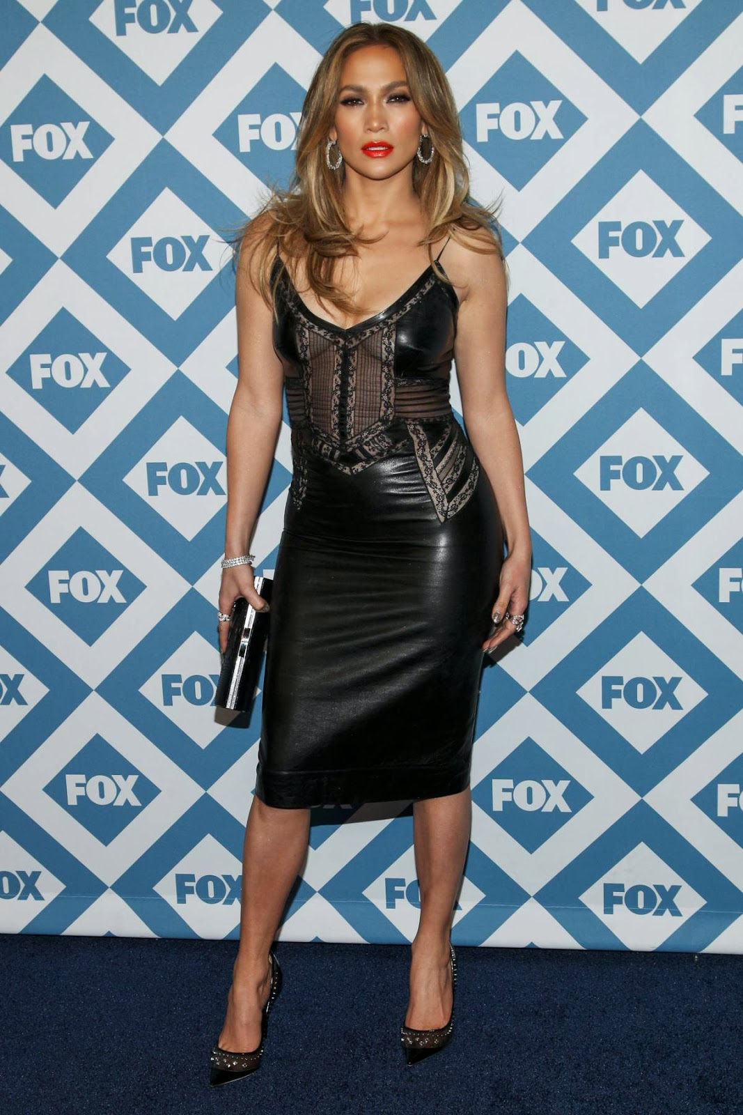 Jennifer Lopez in Sexy Leather Dress for Fox TCA Party – Red Carpet