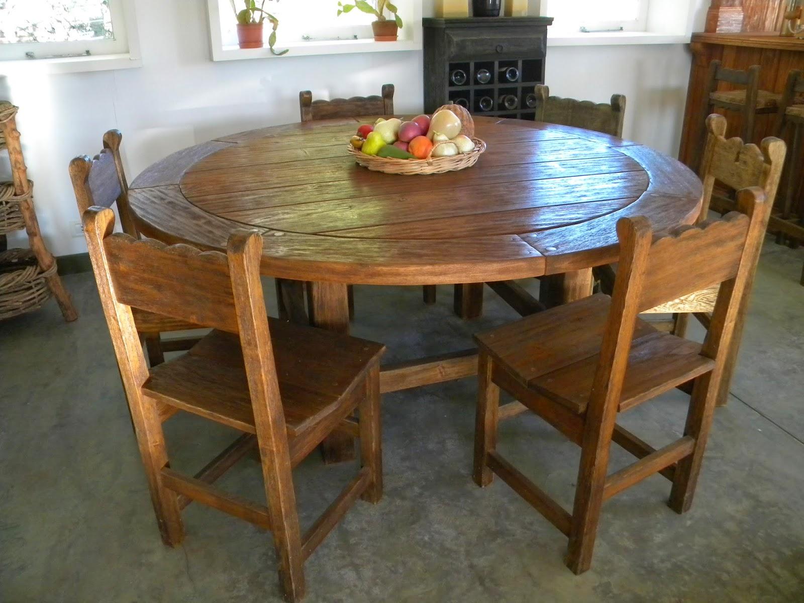 Mesas muebles pino amarillo - Comedores mesa redonda ...