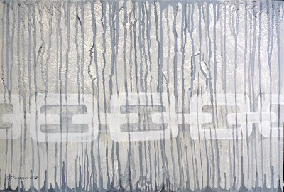 Grey subjective abstract painting on wood SIXTY SHADES OF GREY,  Copyright Hemu Aggarwal, 2015