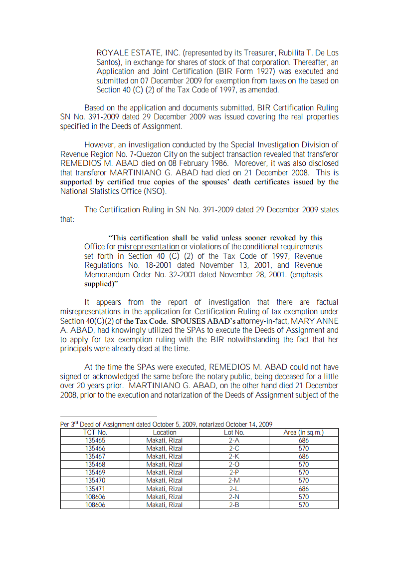 Philippine Real Estate Taxation Bir Rmc No 49 2013 Effect Of