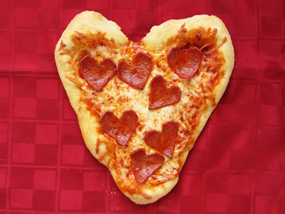 heart shaped pepperoni personal pizza