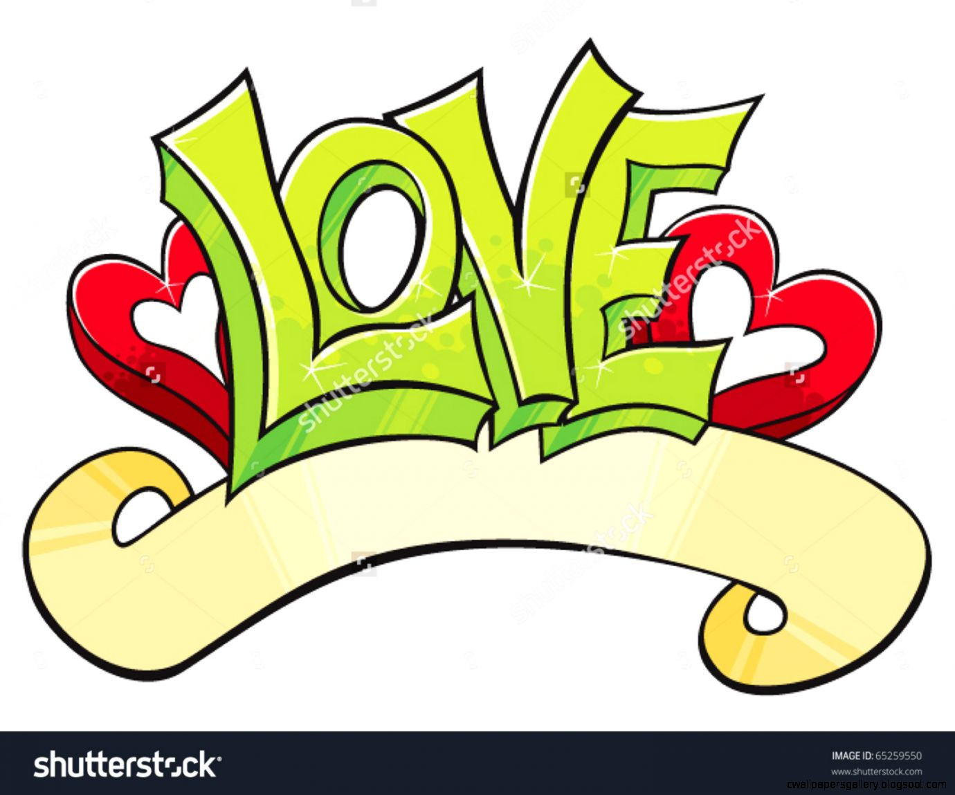 Love Word With Hearts Drawed In Graffiti Style Stock Vector