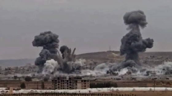 Massive U.S. airstrike in Syria. The U.S. air force simply assumed no civilians were in the area. (Screen capture from YouTube video.