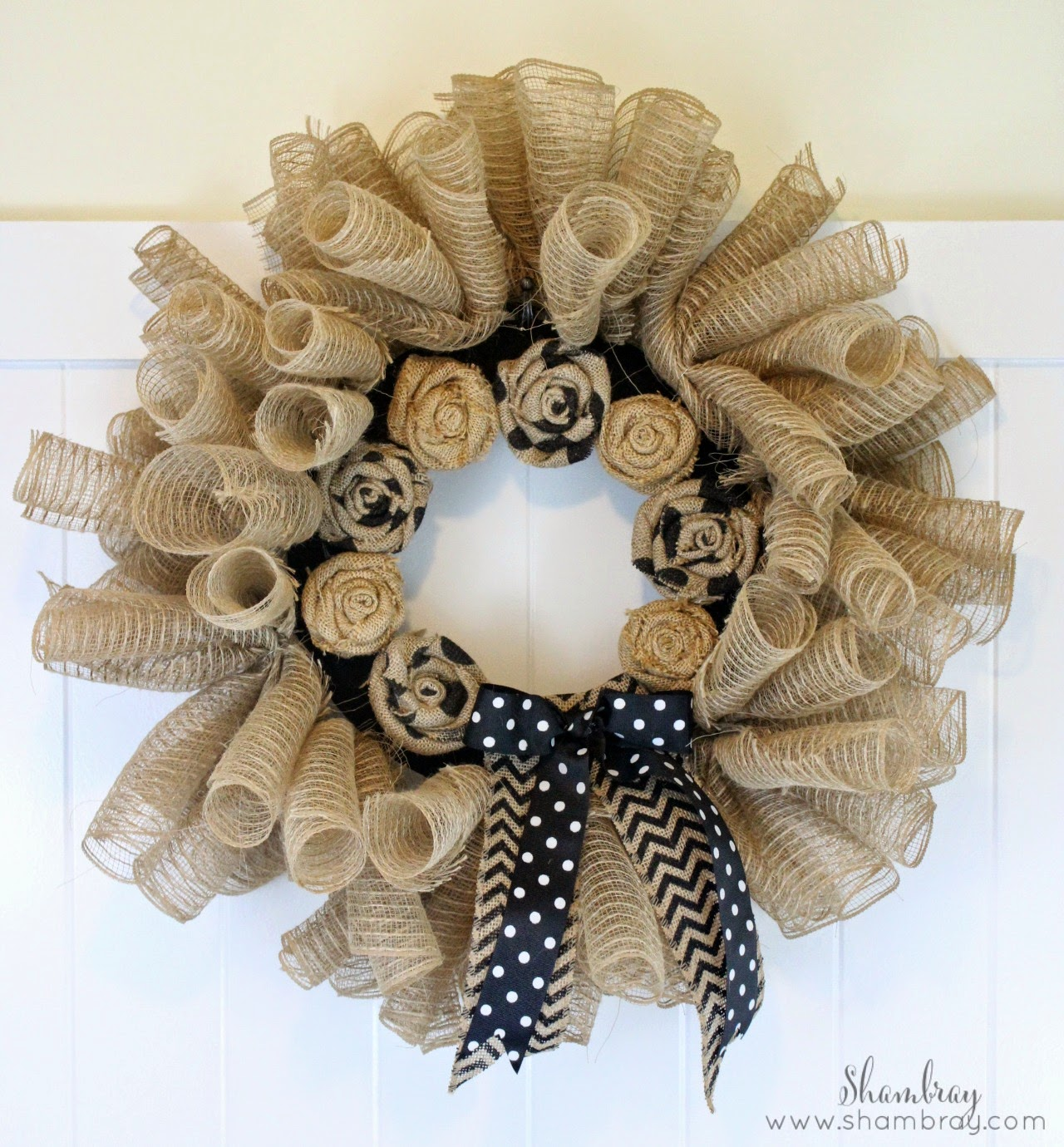 Shambray deco mesh and burlap wreath for How to use burlap ribbon