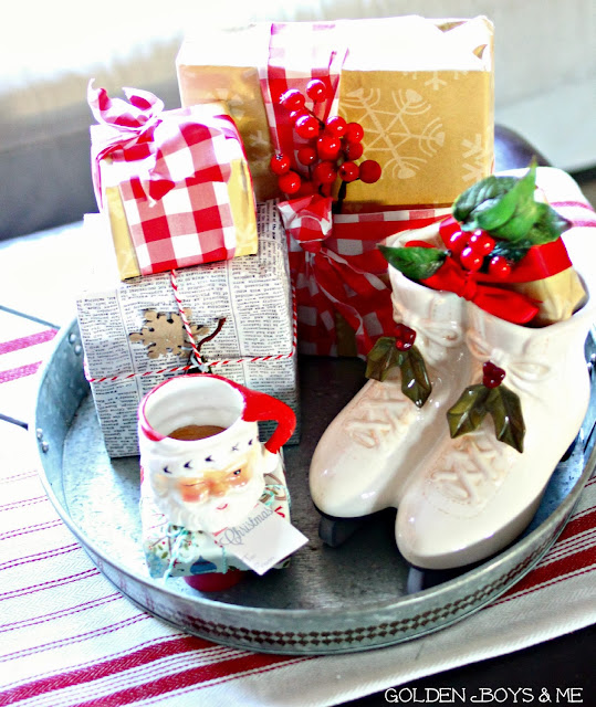 Ceramic ice skates and vintage Santa mug in Privet House galvanized tray-www.goldenboysandme.com