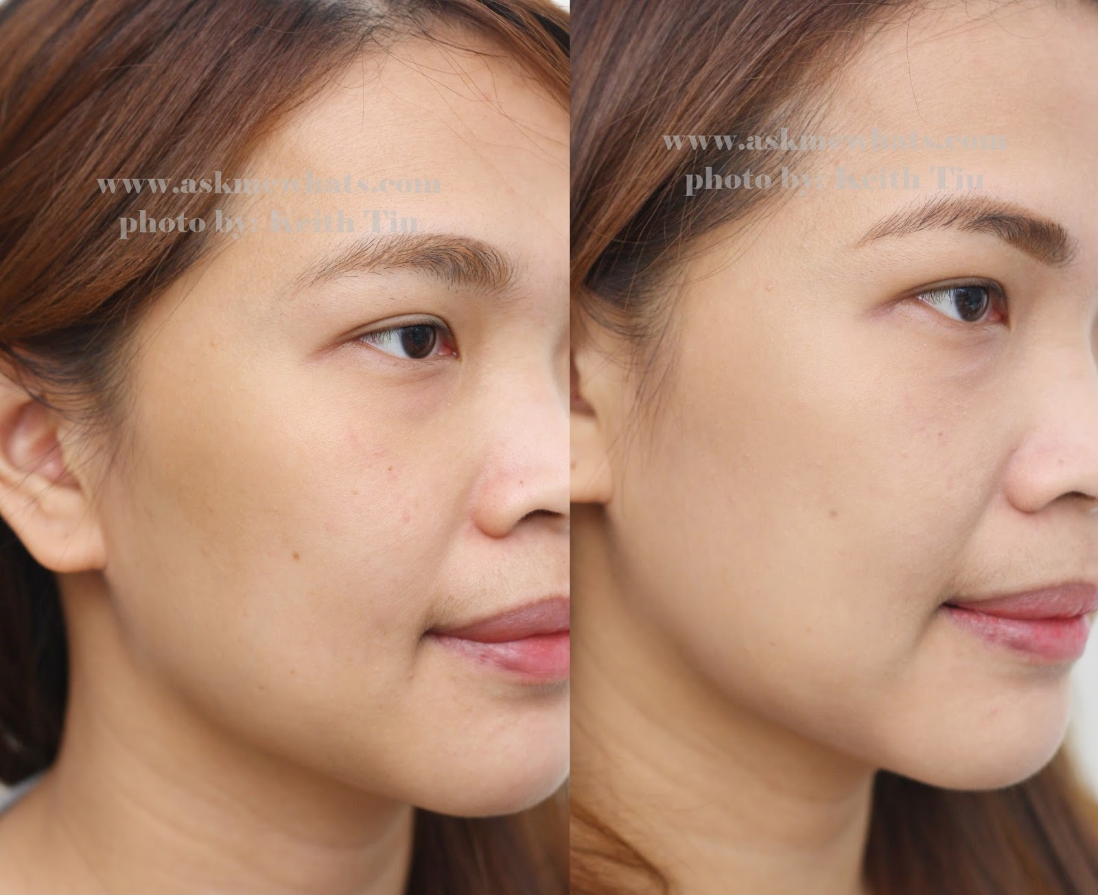 before and after photo using L'Oreal Paris Lucent Magique BB Skin Luminizing BB Cream SPF19
