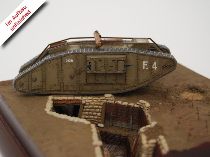 Erster Weltkrieg Diorama eines englischen Schützengrabens mit Tank und Soldaten, Diorama of a British Trench in WWI Bild 5