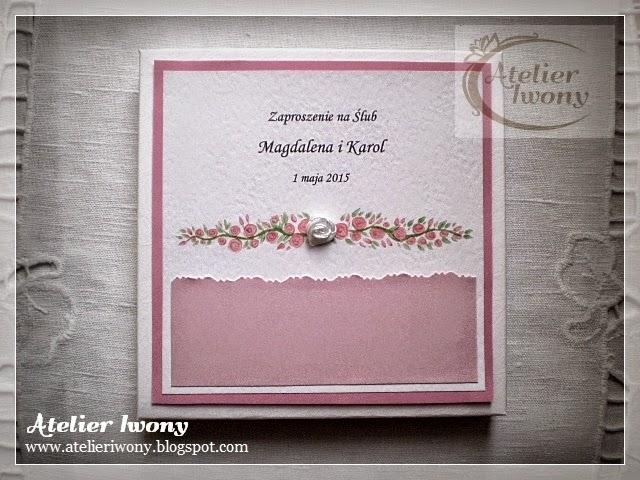 różowy, róża, różyczki, rose, pastelowy, ręcznie robione zaproszenia w pudełku