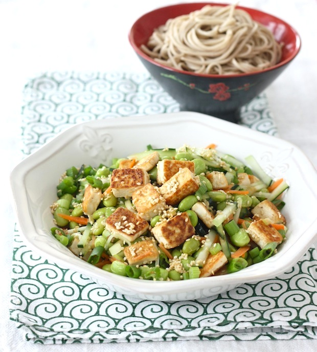 Pan-fried Tofu & Edamame Salad with Wasabi Dressing by SeasonwithSpice.com