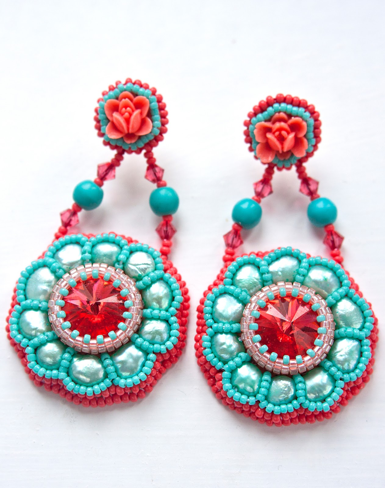 Aif design bead embroidery earrings iv