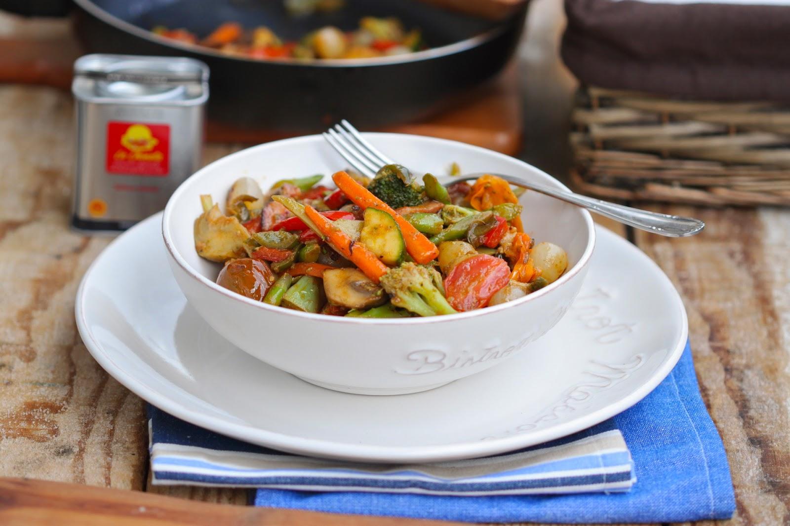 wok de verduras al pimentón ahumado