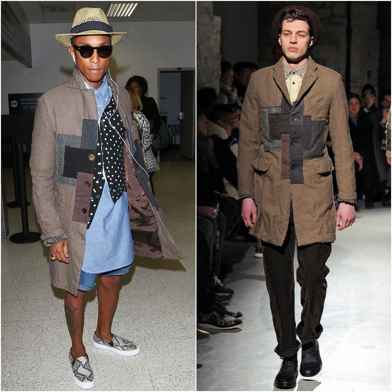 00O00 Menswear Blog: Pharell Williams in Junya Watanabe patchwork coat - LAX Airport September 2013