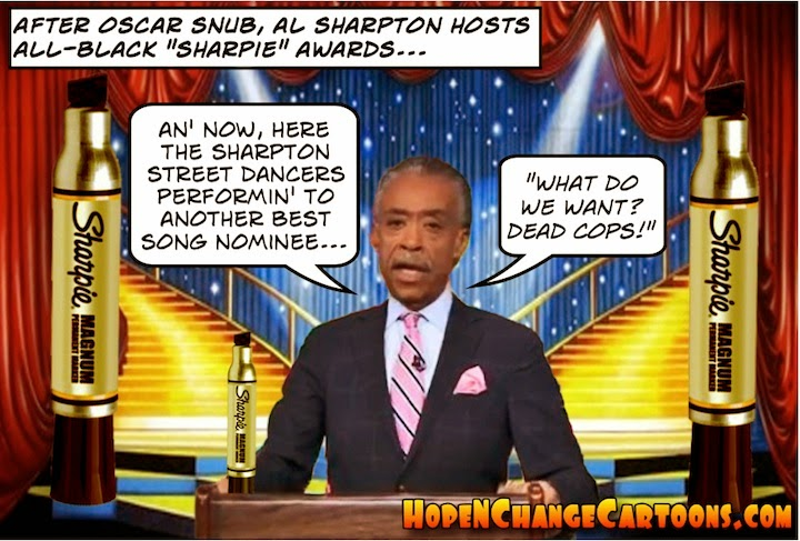 obama, obama jokes, political, humor, cartoon, conservative, hope n' change, hope and change, stilton jarlsberg, mlk, martin luther king, al sharpton, oscars